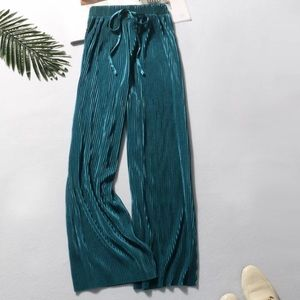Turquoise blue wide leg pleated pant